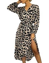 6b8b4347fba NPRADLA Fashion Women Casual Long Sleeve Leopard Print Split Lace Up V-Neck  Long Dress