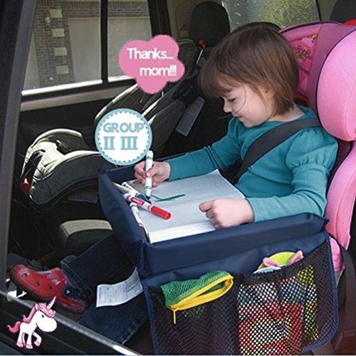 Spieltisch für Autositz Zubehör,NuoYo Kindersitz-Reisetisch mit Netztaschen Auto-Spieltisch für Kindersitz Children's Play Tray Neue ultra-dünnen Design,Schwarz (Schwarz)