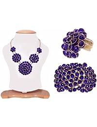 Jewels Gehna Blue Brass Necklace Set With Ring & Bracelete Set