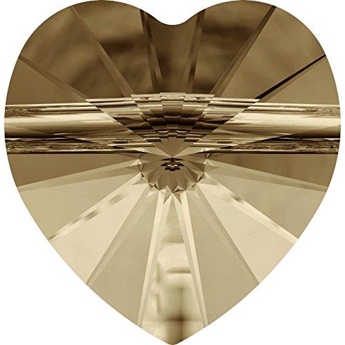 14�mm con cristalli Swarovski a forma di cuore con perline Golden Shadow * Qty 10