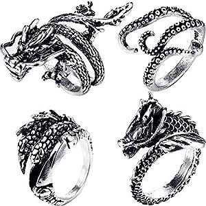 4 Stücke Vintage Punk Ringe Octopus Dragon Verstellbarer Edelstahlring