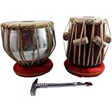 "India Meets India Tabla Set 6.5"" Metal Bayan and 7.5"" Mango wood Dayan with Gaddi, Hammer, Covers & Bag for Kids training"