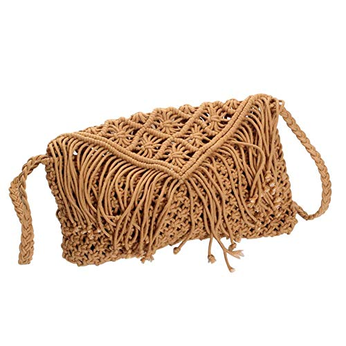 julyso Straw Woven Bag Große handgewebte Handtasche aus Baumwollfaden (Kirche Passt Damen)