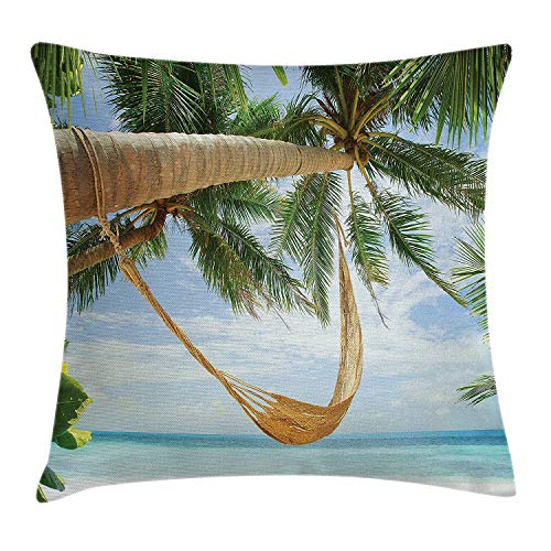 ushion Cover, View of Nice Hammock with Palms by The Ocean Sandy Shore Exotic Artsy Print, Decorative Square Accent Pillow Case, 18 X 18 Inches, Green Cream Blue ()