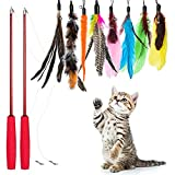 Auidy_6TXD 10 pcs Cat Feather Toys,3 Retractable Interactive Cat Wand For Indoor Cat and Kitten Catchercs Cat Feather Toys,3 Retractable Interactive Cat Wand For Indoor Cat and Kitten Catcher