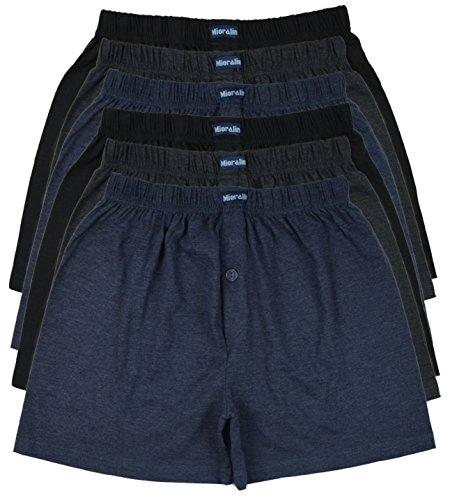 TOPANGEBOT 6 übergrosse Boxershorts farbig weich und locker in neutralen Farben Unifarben oder bedruckt Original MioRalini Herren Man men Boxershort