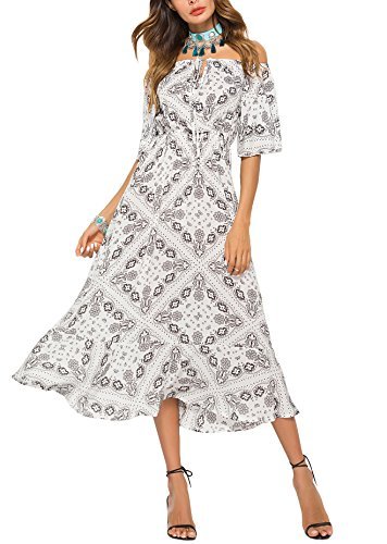 54fcab706cf3 ... donna Camicia maniche lunghe in pizzo con spalle scoperte Abito da  spiaggia bianco con vestito Boho altalena (M