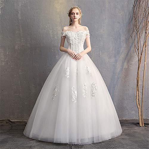BTTNW WE Hochzeitskleid Womens Braut Brautkleider Lace Sexy Backless Lace Appliques Brautkleider for die Braut Für Hochzeit besondere Anlässe (Farbe : White, Size : XL) White Lace Floral Applique