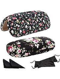 SwirlColor Funda Gafas Rigida, 2 Estuches de Gafas de Flores Estuches de Gafas Duras para Mujeres Niñas, con 2 Paños de Limpieza de Anteojos Negros, 2 Estuches de Anteojos Negros