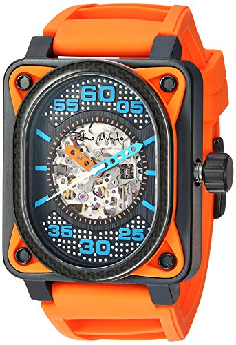 Ritmo Mundo 'Hulk' Japanese Automatic Stainless Steel and Silicone Casual Watch, Color: (Model: 1300/4 Orange)