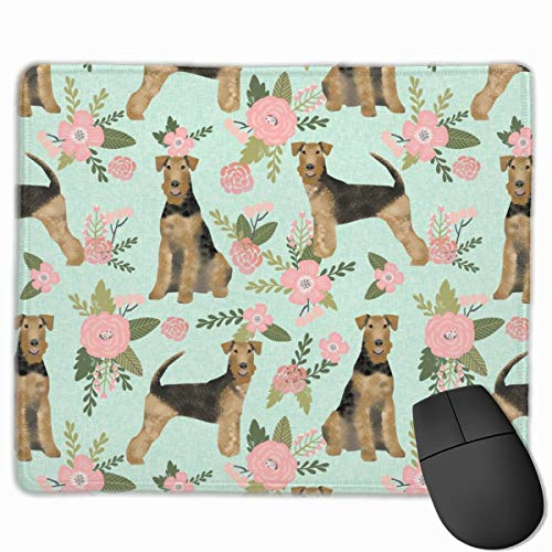 Airedale Terrier Dog Breed Pet Quilt Floral Coordinate_23470 Mouse pad Custom Gaming Mousepad Nonslip Rubber Backing 9.8
