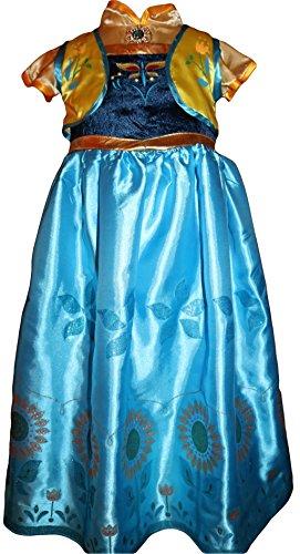 en Fever Anna Kostüm Kleid Dress Prinzessin Grün und Gelb (128) (Elsa Frozen Kostüm Fever)