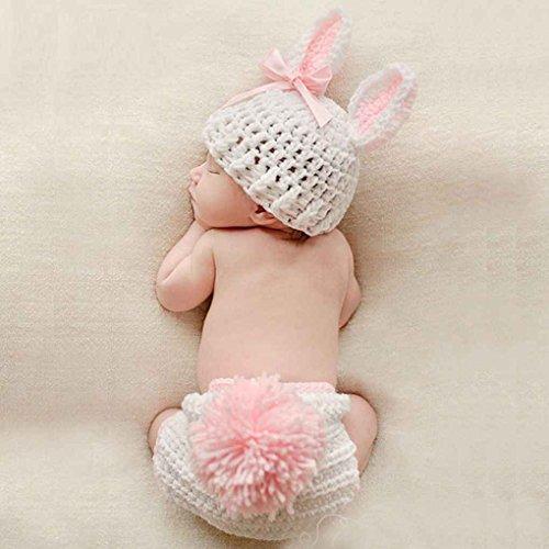 Florallive Baby-Kleidung Niedlich häkeln Neugeborene Baby-Foto-Props Kostüm-Baby-Fotografie Props Kaninchen-Blumen-Baby-Outfits Set