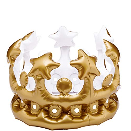 Feuer Krone Kostüm - Butlers Air Royal Party-Krone aufblasbar Ø 33,5cm in Gold - Kostüm für King und Queen - Geburtstag, Karneval, Accessoire
