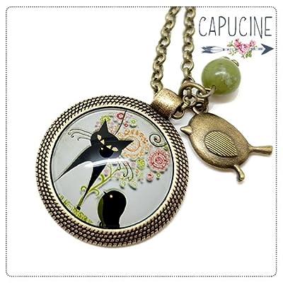 Sautoir chat noir bronze et cabochon verre - Long collier chat et oiseau - L'Oiseau des Chats