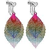 Farbe Doppelt Hohl Blatt Baumeln Clip auf Ohrringe für Mädchen Damen Herz Clips Abschlussball Ohrring