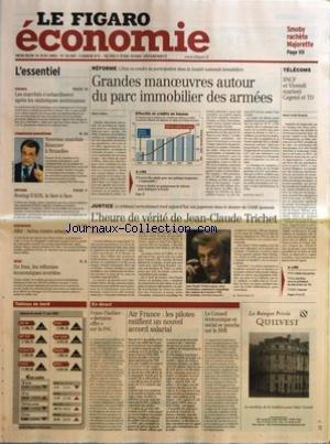 FIGARO ECONOMIE (LE) [No 18307] du 18/06/2003 - SMOBY RACHETE MAJORETTE - FINANCE - LES MARCHES S'ENHARDISSENT APRES LES STATISTIQUES AMERICAINES - COMMISSION EUROPEENNE - NOUVEAU SCANDALE FINANCIER A BRUXELLES - DEFENSE BOEING-EADS, LE FACE A FACE - ASSURANCE - AFER AVIVA CONTRE-ATTAQUE - SERIE - EN IRAN, LES REFORMES ECONOMIQUES AVORTEES - REFORME - GRANDES MANOEUVRES AUTOUR DU PARC IMMOBILIER DES ARMEES PAR REMI GODEAU - FRANCIS MER PLAIDE POUR UNE POLITIQUE BUDGETAIRE RESPONSABLE - POUR LE par Collectif