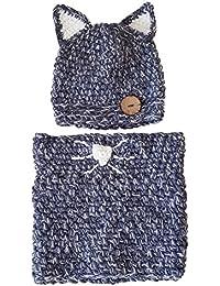 Sombrero Bufanda Bebé,TININNA Otoño Invierno Niños Niñas Lana Punto Mantener Caliente Conjunto Gorros Gorras y Bufanda con Lindo Fox Diseño-Azul Oscuro
