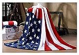 Trendige Flauschige Kuscheldecke Tagesdecke Weiche Flanell Wohndecke Bettdecke Blankets 200x150CM für Herren Damen Kinder Baby Schlafzimmer Sofa Auto, Amerikanische Flagge