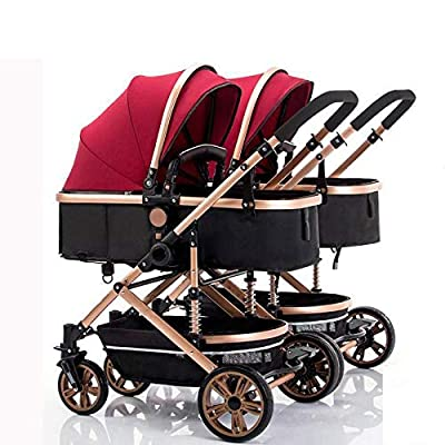 Double Strollers Baby Pram Tandem Buggy Newborn Pushchair Ultra Light Folding Child Shock Absorber Trolley Can Sit Half Lying 0-3 years old(Maximum loadable 65Kg baby) C