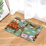 fuhuaxi Tappeto Animale Bagno Elefante colorato Stile Bohemien Etnico Tailandese Decorativo Modello Antiscivolo zerbino Tappetino da Bagno 15.7x23.6in