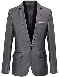 VOBAGA Slim Fit Veste Blazer Casual Elegant Un Bouton Costume Manteau Jacket Homme
