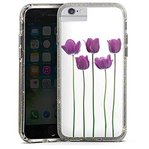 Apple iPhone 6 Plus Bumper Hülle Bumper Case Glitzer Hülle Tulpen Lila Blumen Bumper Case Glitzer gold
