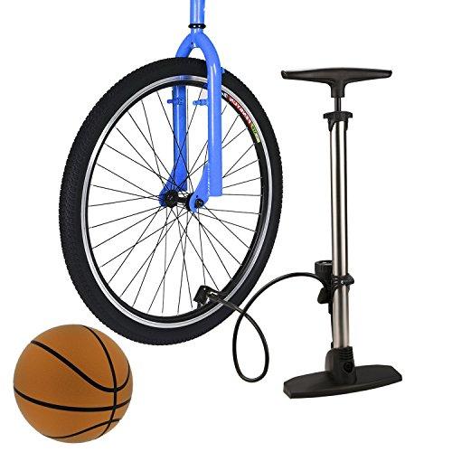 Fahrradpumpe Sport Hochdruck Compact Fahrradbodenpumpe Universal Bike Reifen Innenrohr Track Pump (Silber) - 2