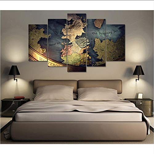 mmwin Frame 5 Unidades De Lona Impresa Juego De Tronos Mapa De Westeros Pintura Decoración De La Habitación Cartel Impresión Arte De La Pared