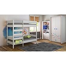 Literas–Los niños los niños Juniors único 140x 70, 160x 80, 180x 80, 180x 90, 200x 90, sin colchón y no incluye cajones escalera en la parte delantera (borde largo), Blanco, 140x70