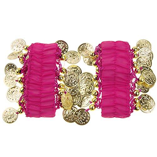 1 Paar Bauchtanz Handgelenk Armmanschette Armbänder w / 18 Goldene Münzen (Pink) (Tanzbekleidung Modische)