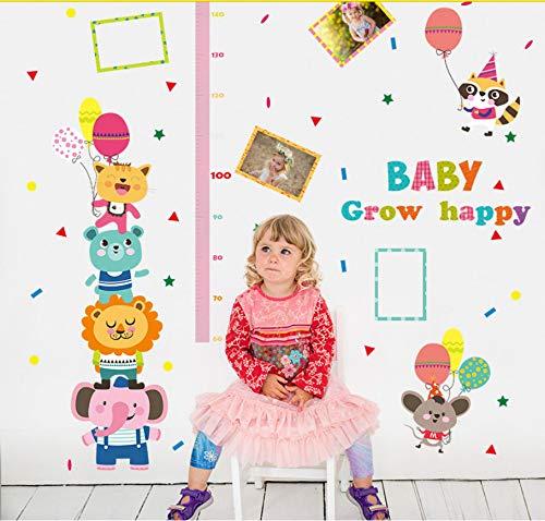 Heureux animal bébé grandir autocollants de bande dessinée animaux carnaval ballon cadre photo décor enfants hauteur de la chambre mesure stickers muraux 60x90cm