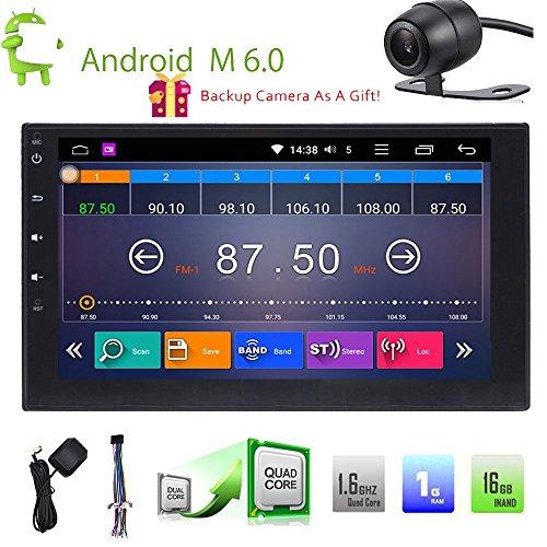 Doppel 2Din Autoradio Android 6.0GPS Stereo 17,8cm Auto Video Audio Player in Dash Head Unit unterstützt 1080p HD Bluetooth, GPS, RDS, Radio, Wifi, OBD2, DVR, Handy Link + Backup Kamera (Android-handys Att)