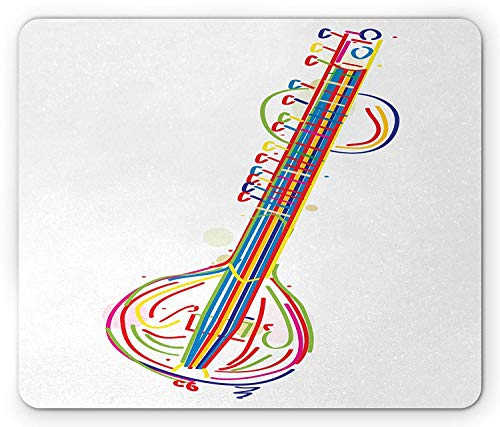 Sitar Mouse Pad, Abstract Colorful Sitar Far Eastern Asian Classical Music Folk Heritage Exotic Beat, Standard Size Rectangle Non-Slip Rubber Mousepad, Multicolor