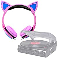 DURAGADGET Auriculares Plegables estéreo con Orejas de Gato en Rosa para Tocadiscos Lauson CL145 | Dual