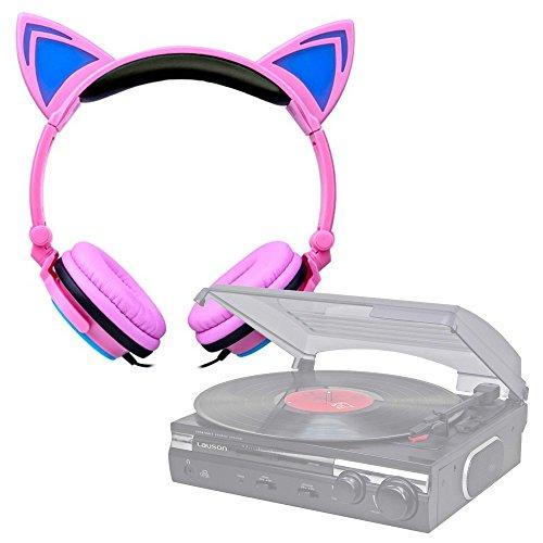 DURAGADGET Auriculares Plegables estéreo con Orejas de Gato en Rosa para Tocadiscos Lauson CL145 | Dual DT 210 USB | Sunstech PXRC5CDWD | 1byone | auna TT-30 BT | Lauson CL145 | Dual DT 210 USB
