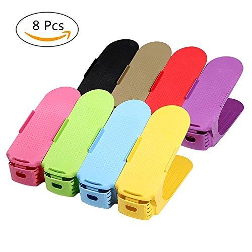 Shoe Rack Verstellbare Schuh Slots Organizer Shoes Organizer Kunststoff Space Saver Halterung Rack, Zufällige Farbe (8 Stck)