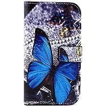 Motorola Moto G3 Cover,Book Cover Flip Case Funda de Cuero de Piel con Función de Soporte para 2015 Motorola Moto G 3 (3ª Generación)-Mariposa azul