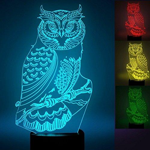 3D adler eule Optische Illusions-Lampen, Tolle 7 Farbwechsel Acryl berühren Tabelle Schreibtisch-Nachtlicht mit USB-Kabel für Kinder Schlafzimmer Geburtstagsgeschenke (Kit Dekoration Baseball)