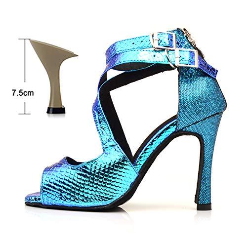 Wshyrabbit Tanz Schuhe Latin Frauen Salsa Schuhe Tanzen Party Hochzeit Ballroom Dance Schuhe Laser PU Und Glitter Blau 6/7.5/8.5/9/10Cm,7.5cm,35