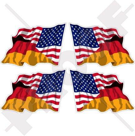 USA Vereinigte Staaten von Amerika & Germany Waving Flag, American & Deutsch, Deutschland 5,1cm (50mm) Vinyl bumper-helmet Sticker, Aufkleber X4