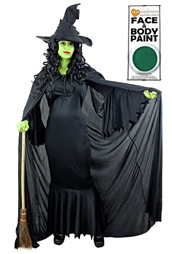 + Uni Schwarz Umhang mit Kapuze + Hexen schwarz hat + Grün Face Farbe, ideal für Halloween in den Größen XS-XXL ()