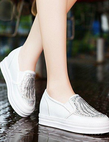 ShangYi gyht Scarpe Donna-Mocassini-Ufficio e lavoro / Formale / Casual-Comoda-Piatto-Sintetico-Nero / Bianco White