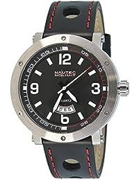 Nautec No Limit Herren-Armbanduhr XL Shamal Analog Quarz Leder SM QZ3/LTSTBK-RD