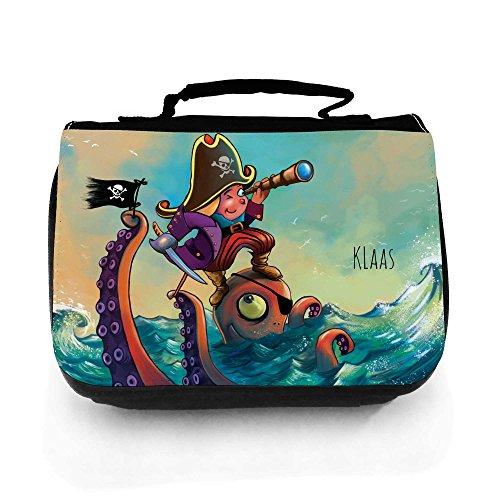 Waschtasche Waschbeutel Kulturbeutel Kosmetiktasche Reisewaschtasche Pirat auf See mit Octopus und Wunschnamen wt118