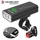 EBUYFIRE Luci Bicicletta LED Ricaricabili USB,Luce Bici Anteriore e Posteriore Super Luminoso 3 LED 3000 Lumen,3 modalità 5200mAh,per Tutte Le Biciclette.