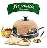 Emerio Pizzaofen, PIZZARETTE das Original, handgemachte Terracotta Tonhaube, patentiertes Design, für Mini-Pizza, echter Familien-Spaß für 4 Personen, PO-110449