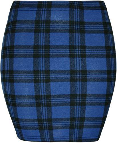 Da donna stampa stretch Bodycon elasticizzato jersey breve mini gonna–8–14 Blue Tartan