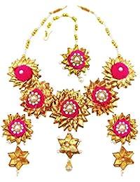 BLENT#63 Traditional Pink Gota Fabric Jewellery Set For Women/Girls/Kids/Bride/Wedding/Haldi/Mehndi (10 Color...