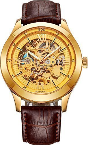 Angela Bos hombres esqueleto mecanico puntero luminoso color oro Watch Brown Band 9008